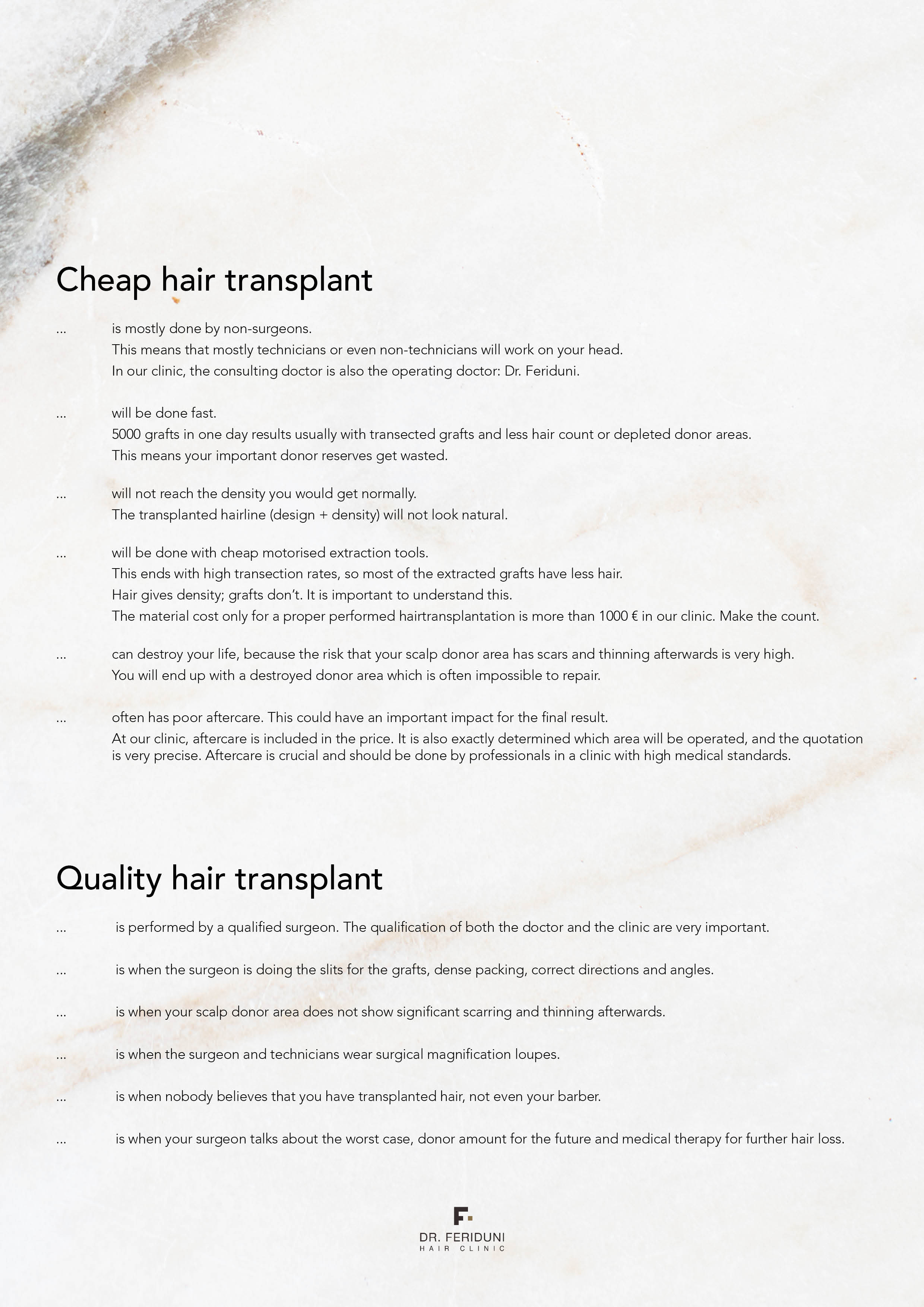 Cheap vs quality hair transplant